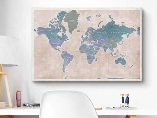 wereldkaart canvas linnen